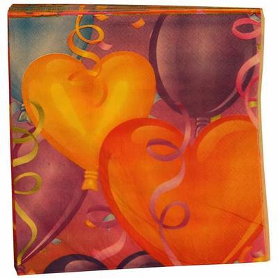 20 serviettes imprimees ballons joyeux anniversaire