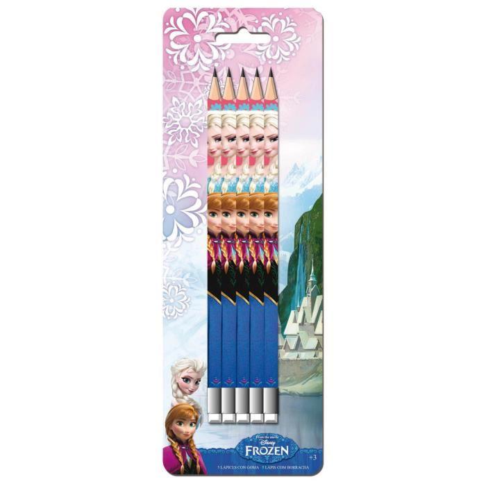 5 crayons gomme la reine des neiges