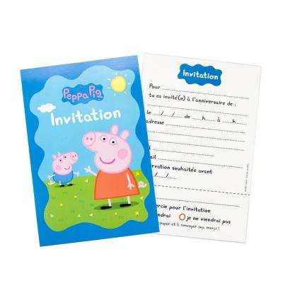 6 invitations peppa pig anniversaire