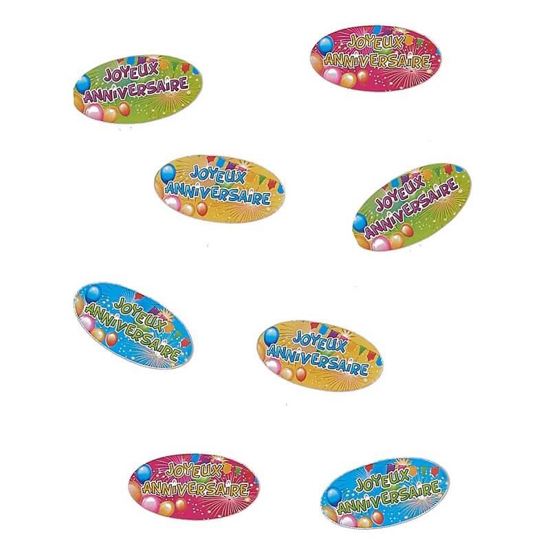 80 confettis de table joyeux anniversaire