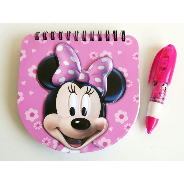 Bloc note 3 d et son Stylo Minnie Disney