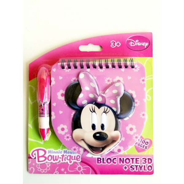 Bloc note 3 d stylo minnie