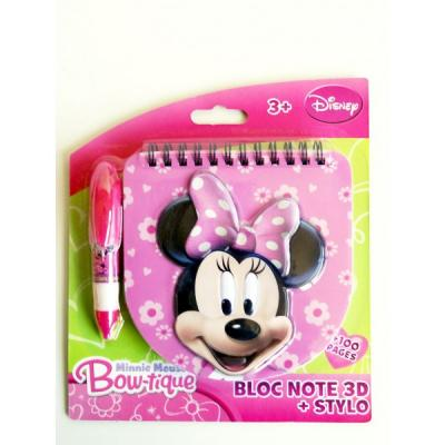 Bloc notes 3D Minnie sous licence Disney avec son stylo