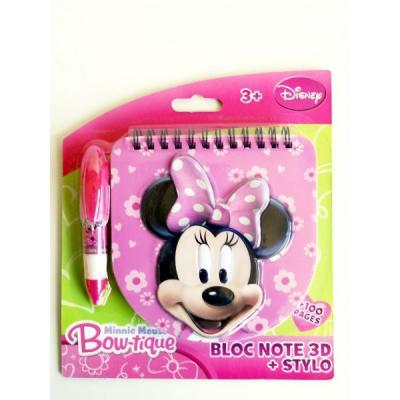 Bloc note 3 d stylo minnie