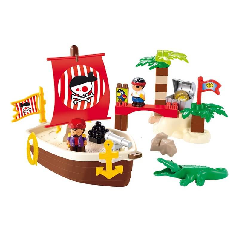 Blocs construction enfant theme chaloupe de pirate abick ecoiffier