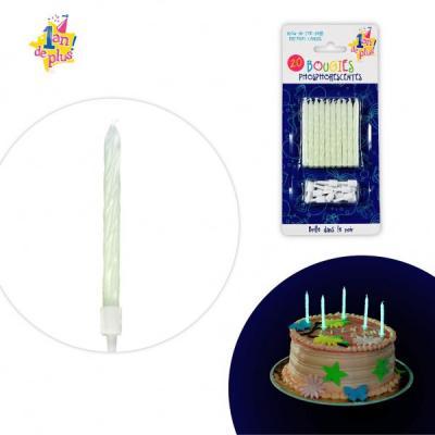 Bougies anniversaire phosphorescentes en pack de 20