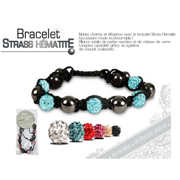 Bracelet strass hematite shamballa 4