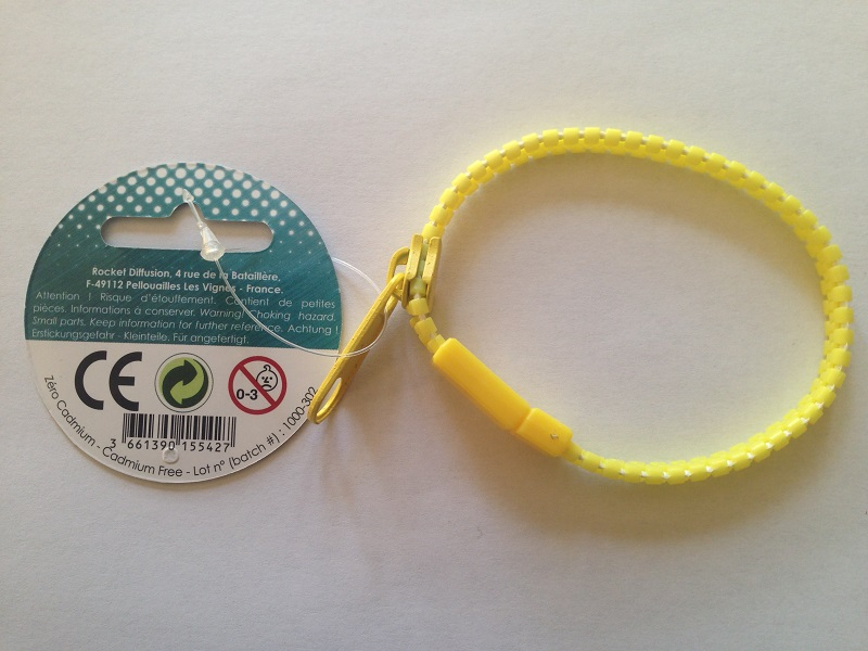 Bracelet zip jaune