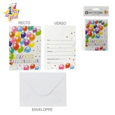 Cartes invitation anniversaire enveloppes lot de 6