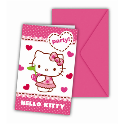 Cartes d'invitation pour un anniversaire Hello Kitty par 6