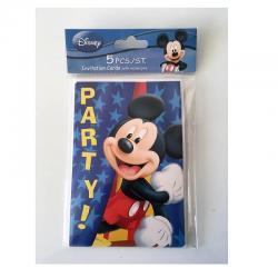 Cartes d'invitation anniversaire Mickey- Lot de 5 cartes