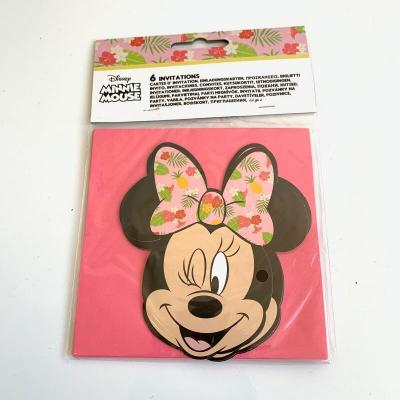 Cartes d'invitation Minnie tropical Disney par lot de 6