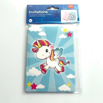 Cartes licorne invitation anniversaire lot de 8
