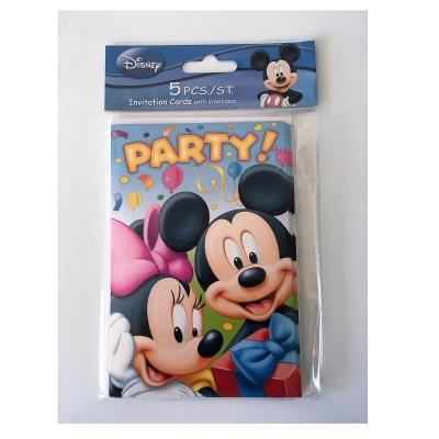Cartes Mickey et Minnie Disney invitation anniversaire enfant - Lot de 5