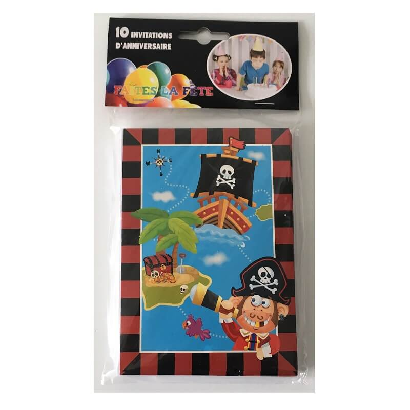 Cartes pirates invitation anniversaire enfant