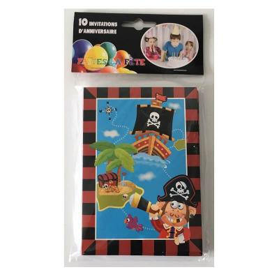 Cartes invitation anniversaire enfant - 10 cartes pirate