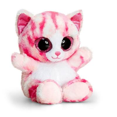 Peluche chat rose et blanche gros yeux Animotsu Keel Toys