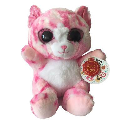 Peluche chat rose aux gros yeux MAXI Animotsu Fashion Keel Toys