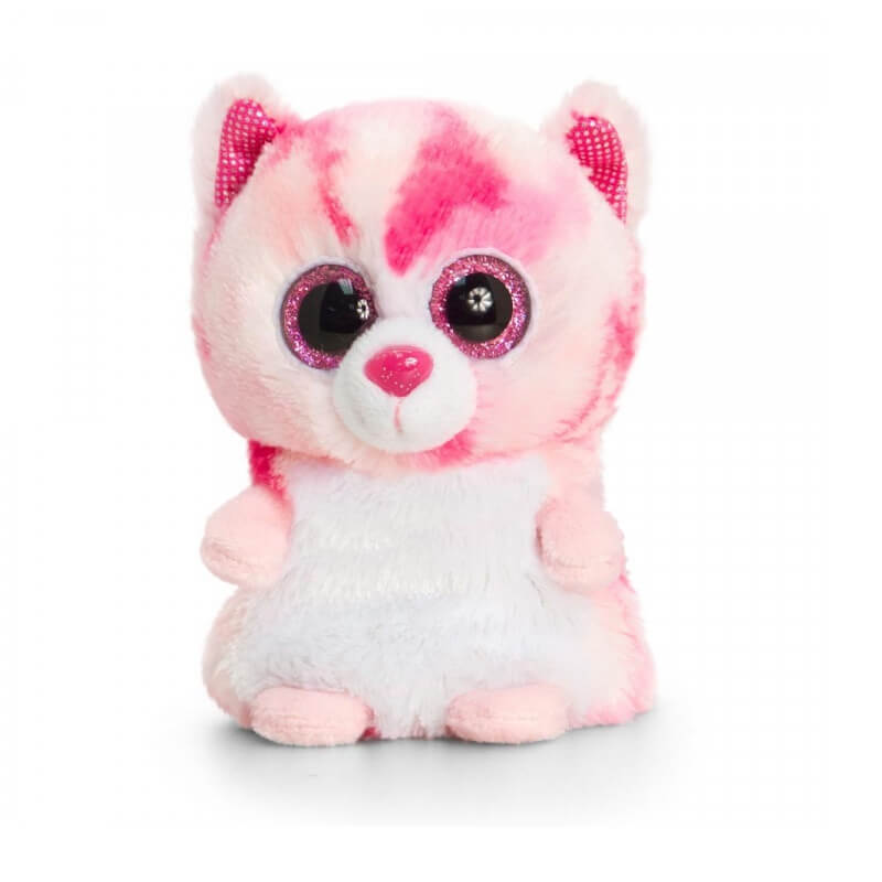 Chat rose peluche gros aux yeux minimotsu keel toys