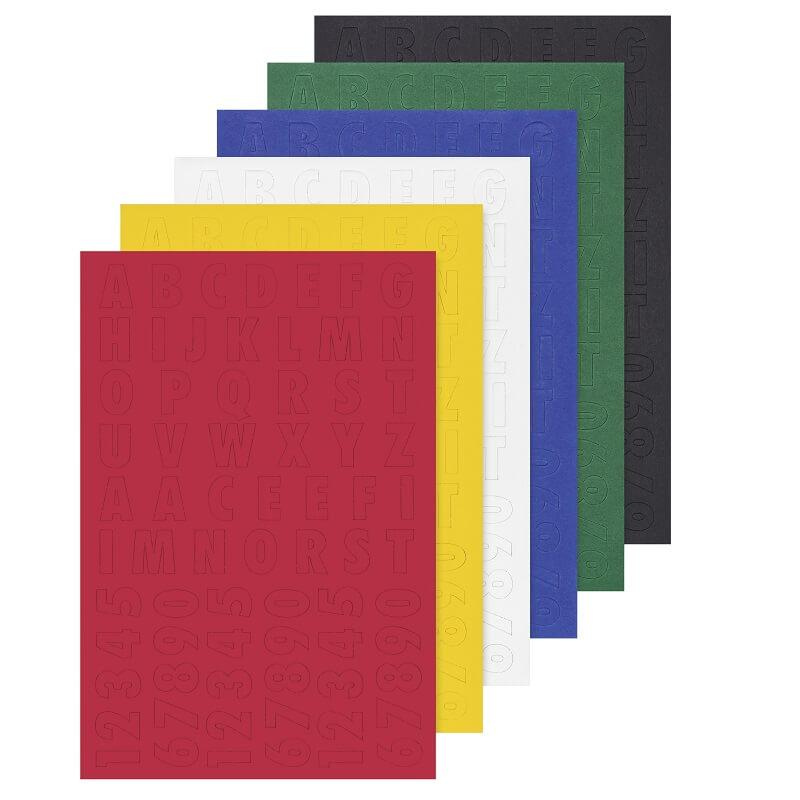Chiffres et lettres carton couleur pochette de 6 feuilles
