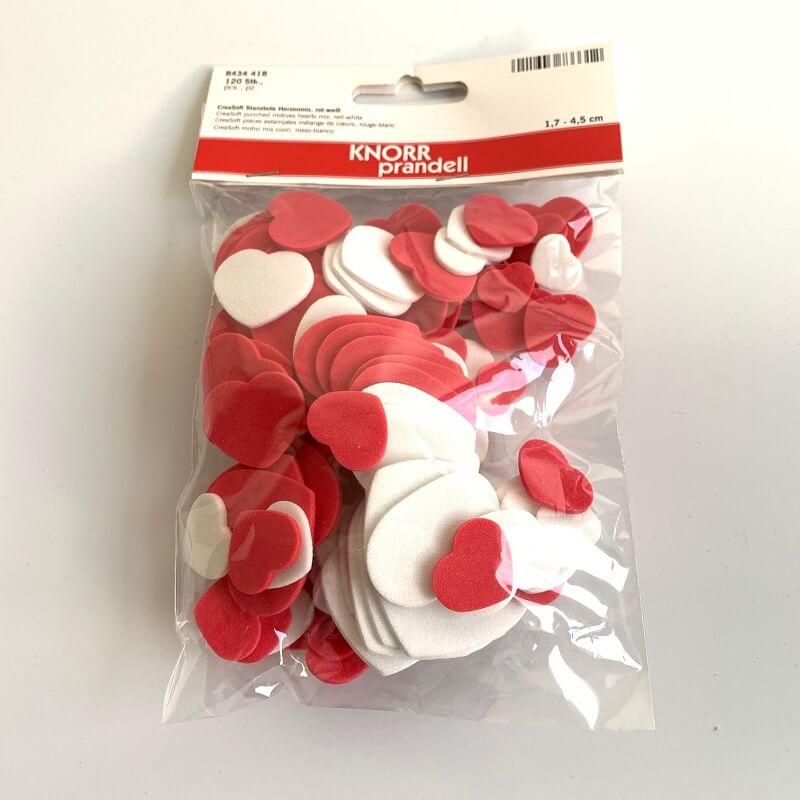 Coeurs scrapbooking creasoft rouges et blancs 120 pieces
