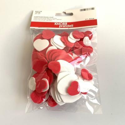 120 coeurs rouges et blancs Créasoft pour le scrapbooking