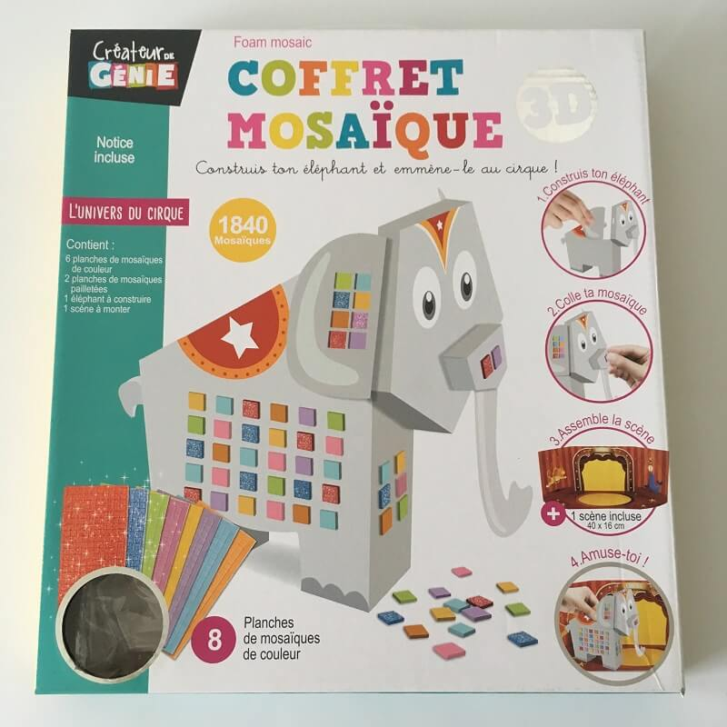 Coffret mosaique 3d elephant