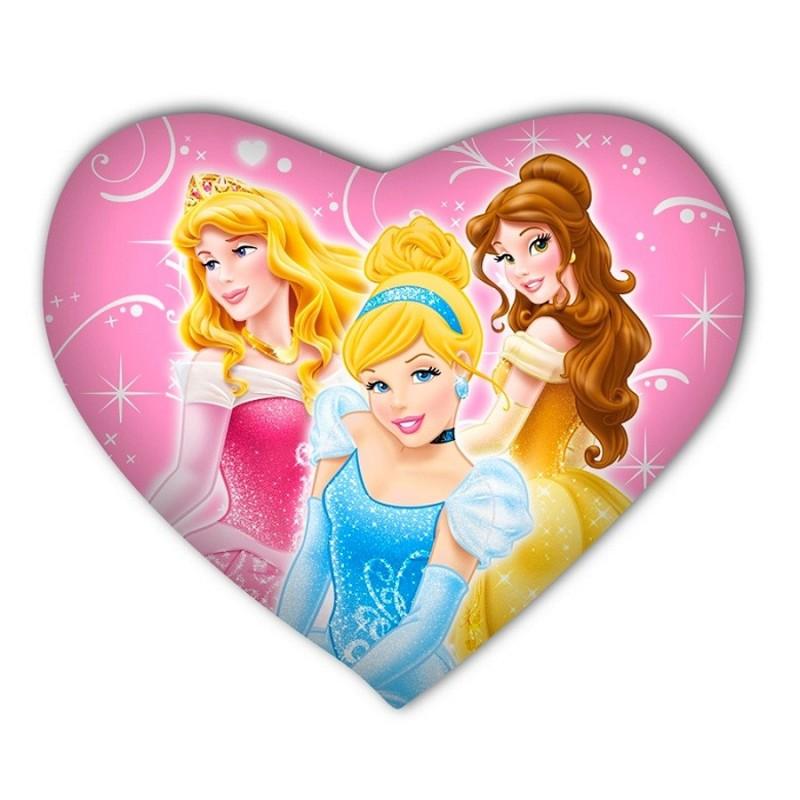 Coussin Princesses Disney cœur - Idée cadeau déco enfant au top !