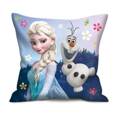 Coussin carré La reine des neiges enfant avec Elsa et Olaf