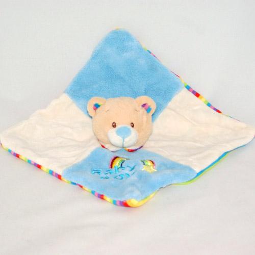 Doudou ours kell toys bleu