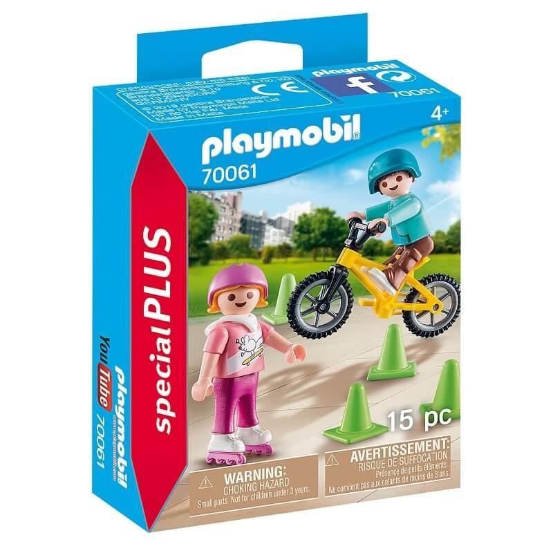 Enfants avec velo et rollers playmobil