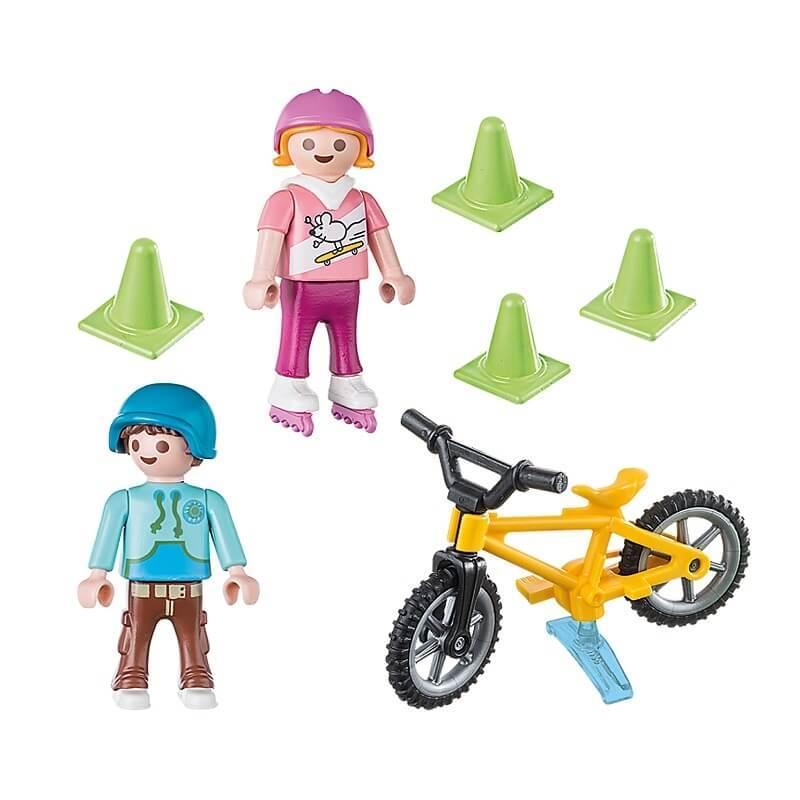 Enfants velo et rollers playmobil