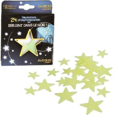 24 étoiles phosphorescentes brillantes dans le noir de décoration
