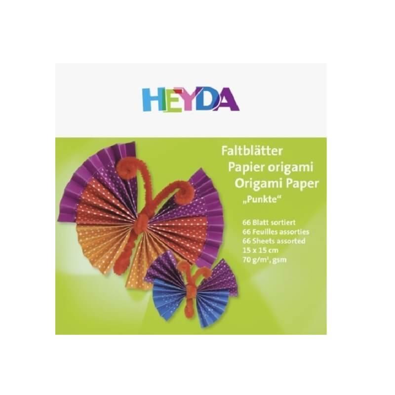 Feuilles pour origami a pois 15 x15 cm pack de 66 feuilles