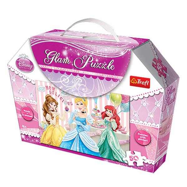 Glam puzzle princesses disney avec paillettes trefl
