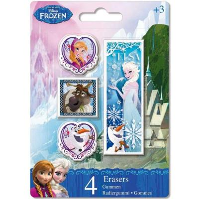 Lot de 4 gommes La reine des neiges Disney