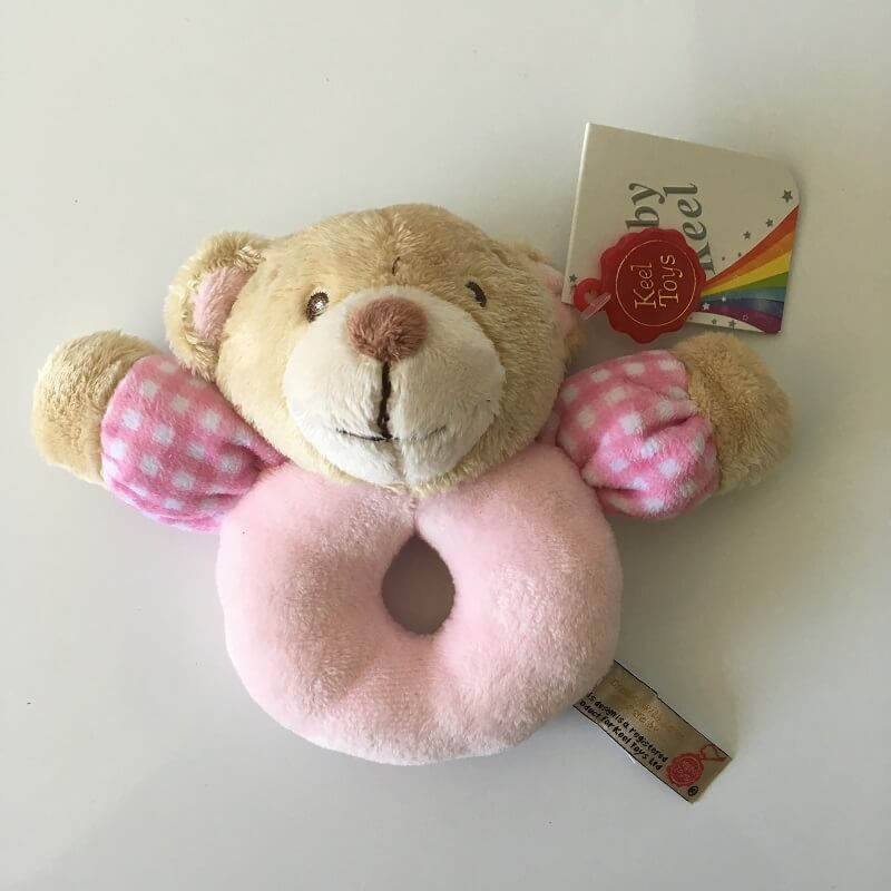 Hochet peluche doudou ours keel toys baby