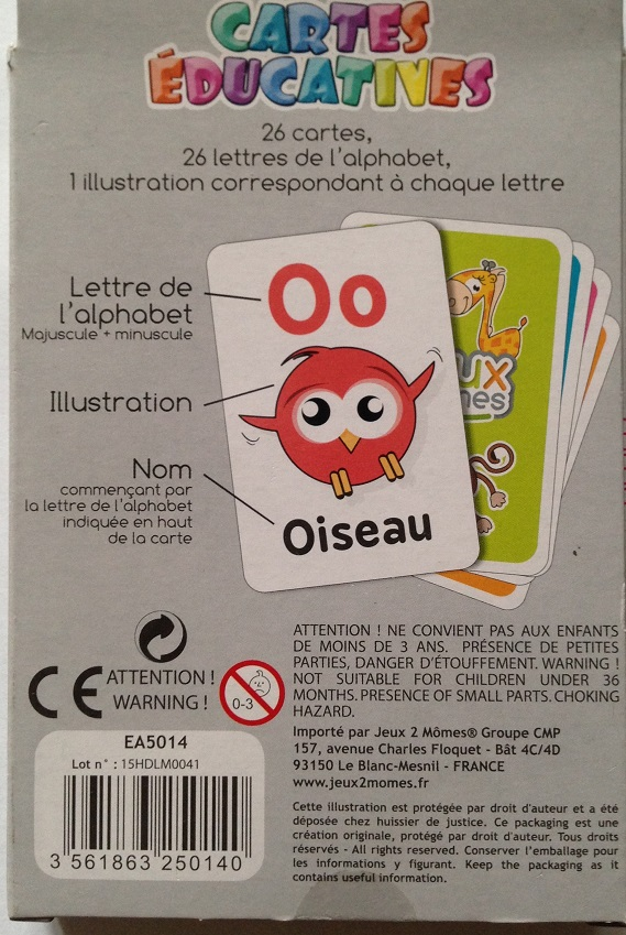 Jeu cartes alphabet illustre 2