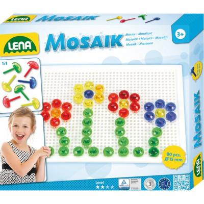 Jeu de création de mosaïques Lena avec 80 picots pour enfant dés 3 ans.