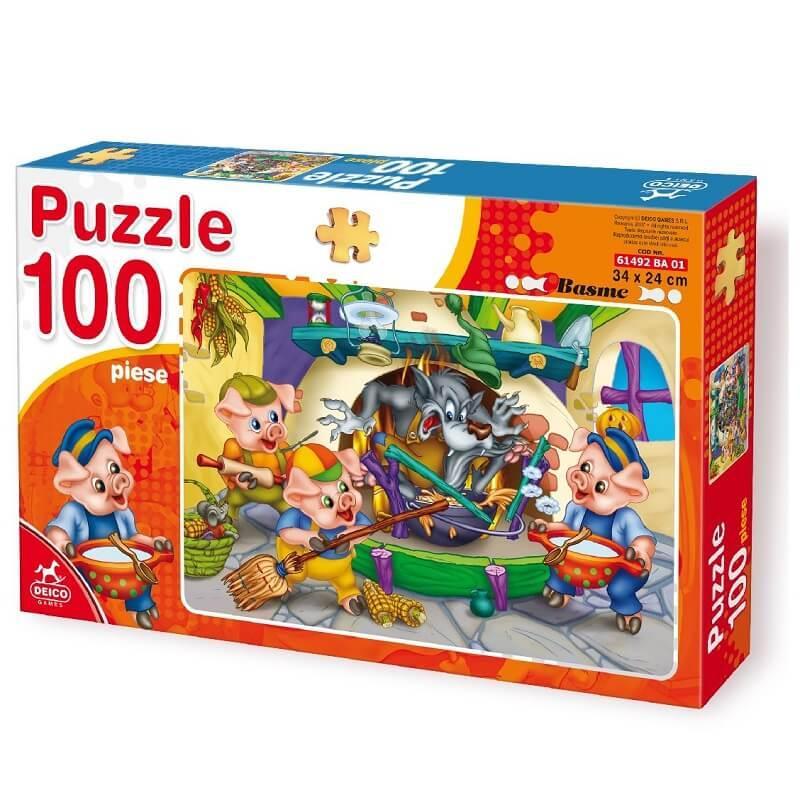 Les trois petits cochons puzzle 100 pieces deico games