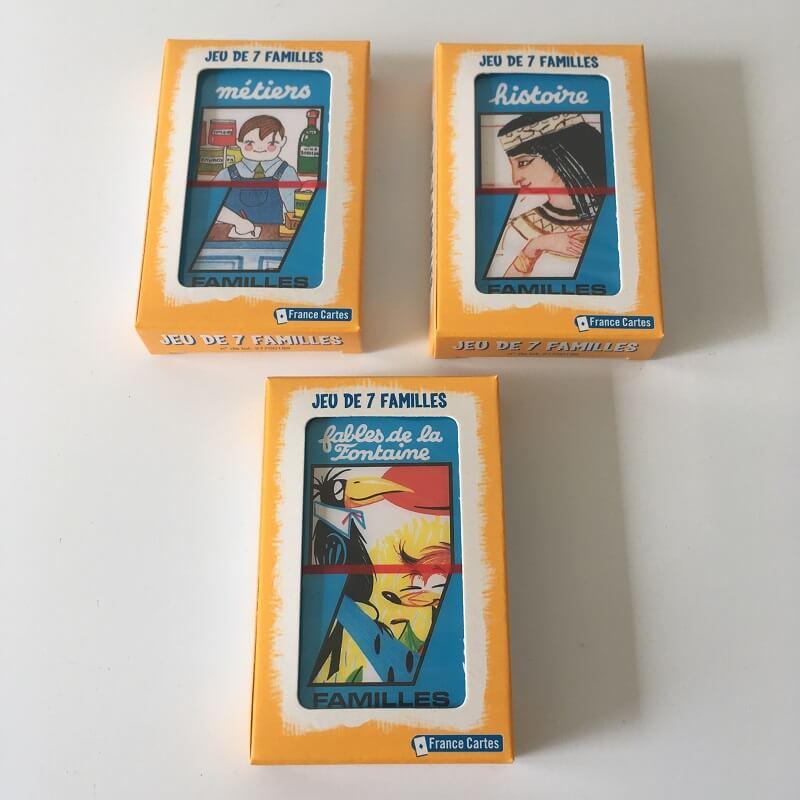 Lot de 3 jeux de 7 familles jeux de cartes enfants