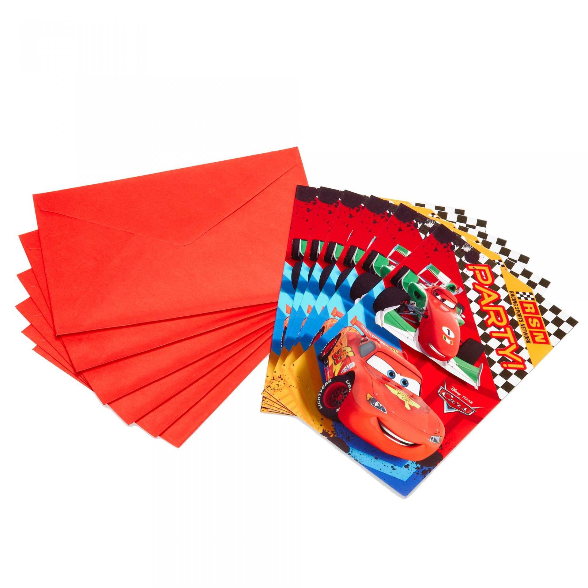 6 cartes d'invitation et les enveloppes Cars Disney