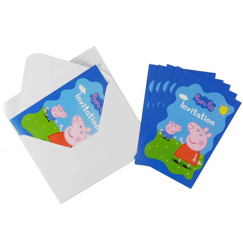 Lot de 6 cartes peppa pig invitation anniversaire