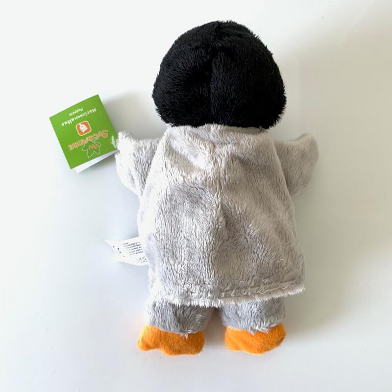 Marionnette peluche pingouin