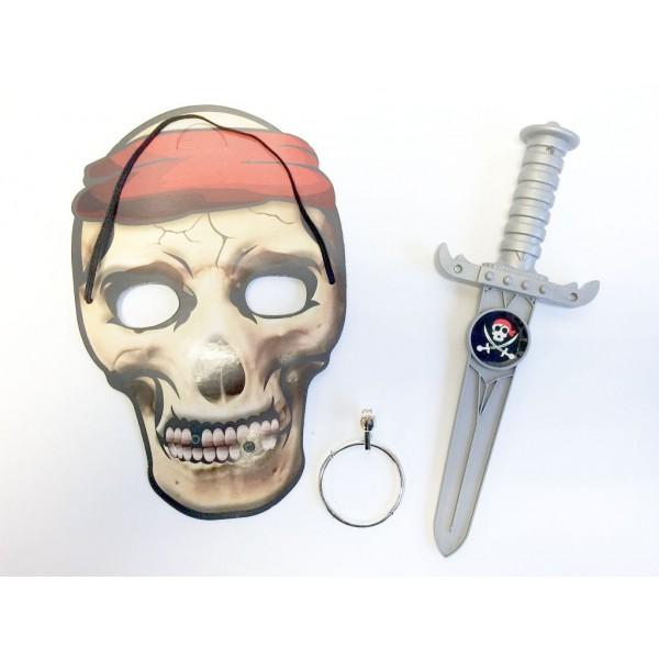 Masque pirate garcon et 2 autres accesoires set deguisement enfant garcon
