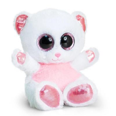 Peluche ourson blanche et rose aux gros yeux