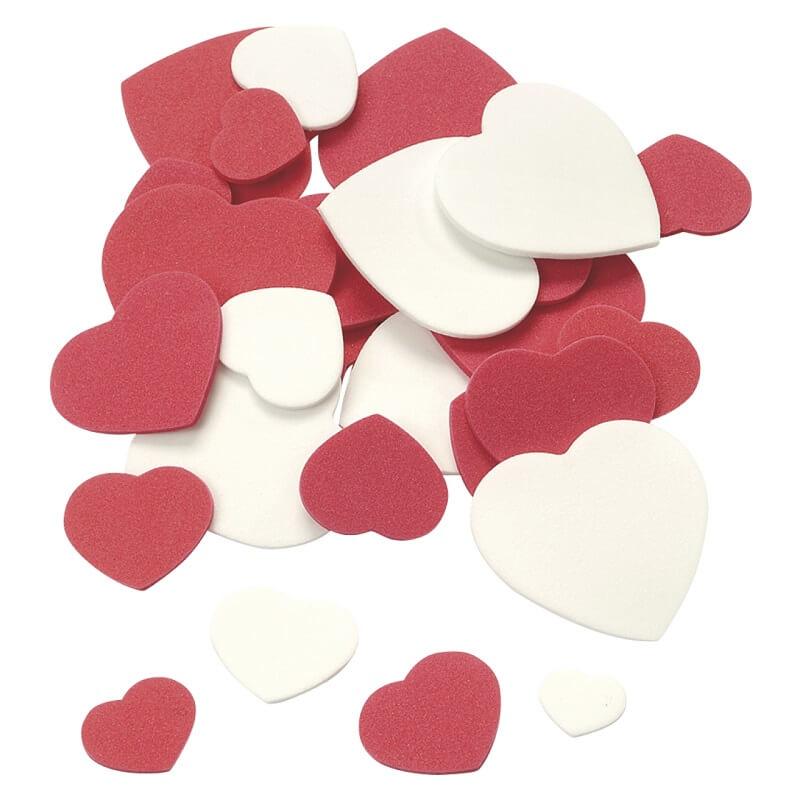 Pack de 120 coeurs rouges et blancs pour scrapbooking
