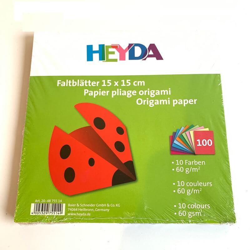 Papier pliage origami 100 feuilles 15 cm 10 couleurs
