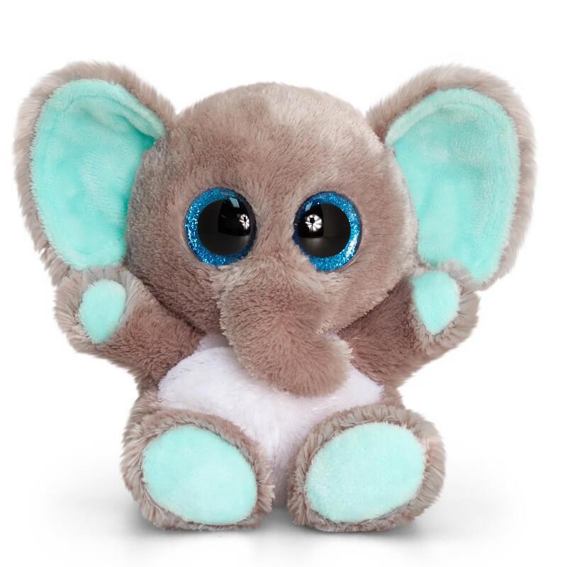 Peluche elephant gris et bleu aux gros yeux