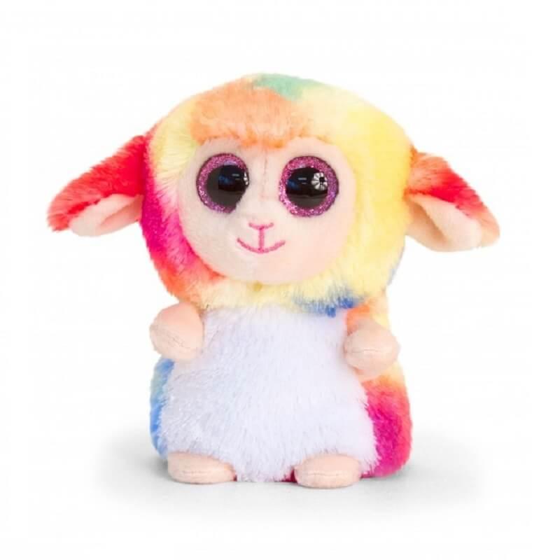 Peluche mouton arc en ciel aux gros yeux minimotsu keel toys